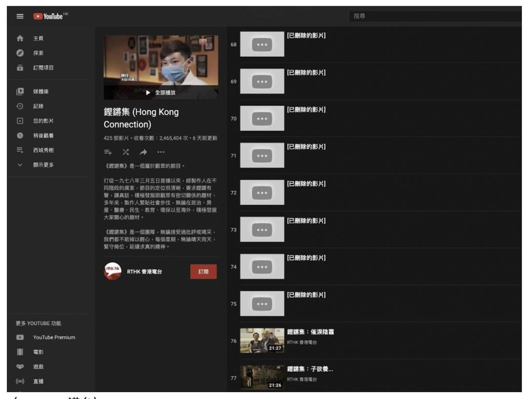 2021年5月,港台刪除在YouTube、Facebook等社交平台上播出已屆一年的影片,包括多集《鏗鏘集》節目。