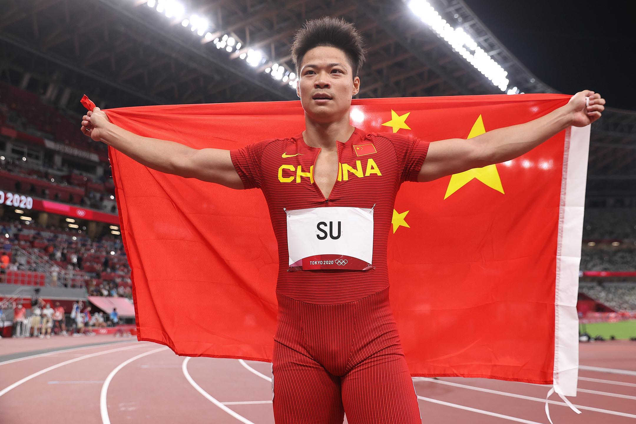 2021年8月1日日本東京,中國隊的蘇炳添在日本東京奧林匹克體育場100米決賽后。