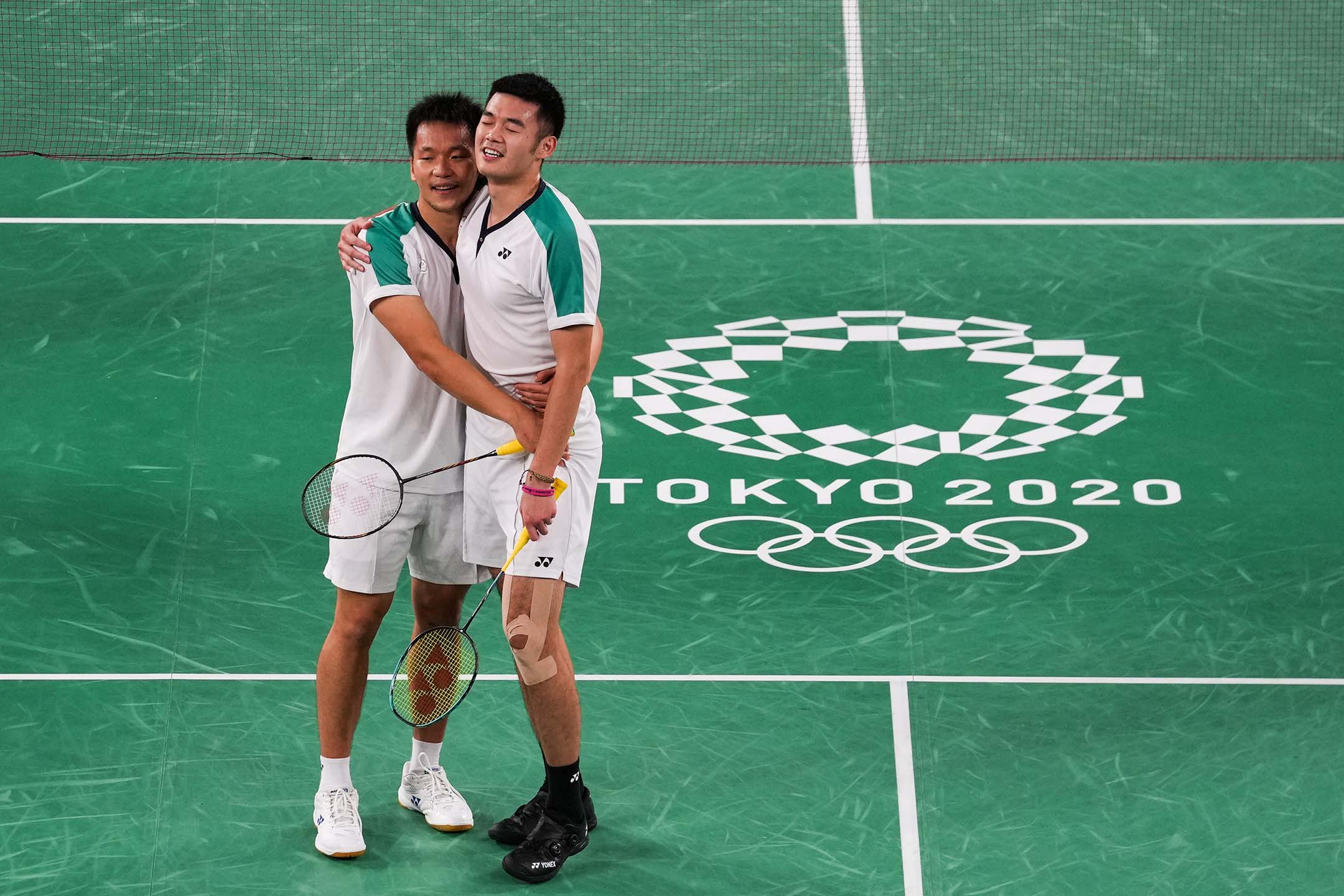 2021年7月31日日本東京奥運會,羽毛球男雙決賽,中華台北隊李洋和王齊麟。 攝:Ni Minzhe/VCG via Getty Images
