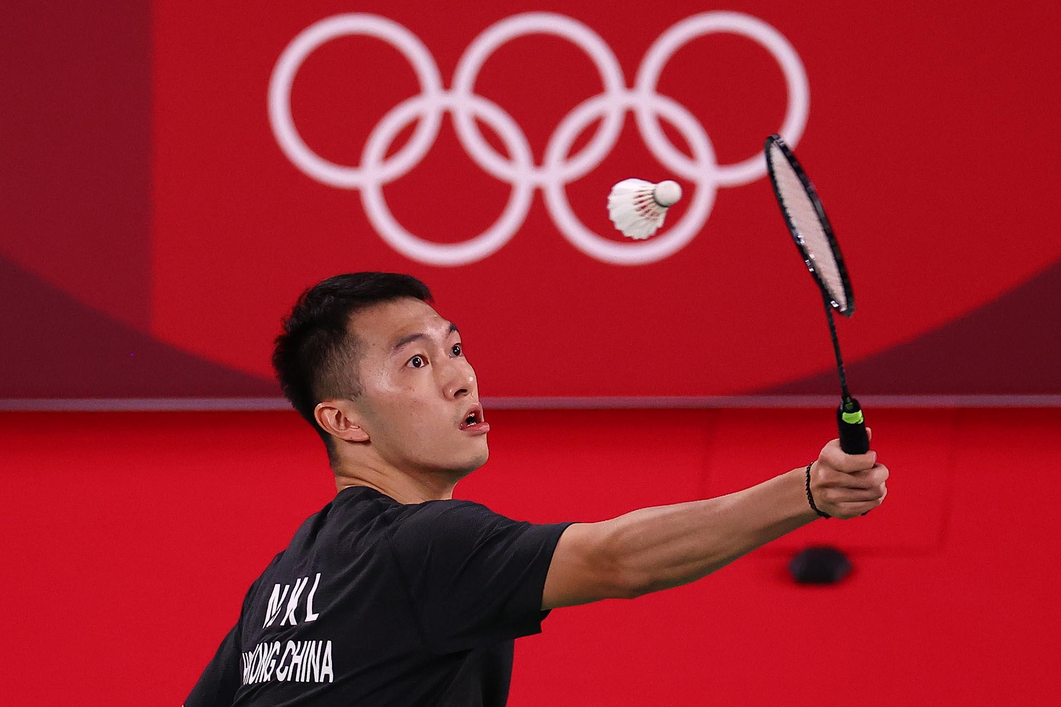 2021年7月24日年東京奧運會,羽毛球男單小組賽香港隊伍家朗。 攝:Leonhard Foeger/Reuters/達志影像