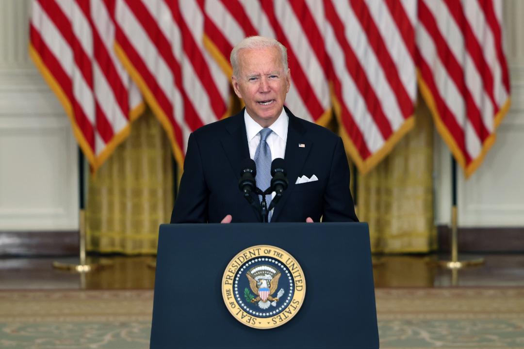 2021年8月16日,美國白宮,總統拜登為從阿富汗撤軍決定辯護。 攝:Anna Moneymaker/Getty Images