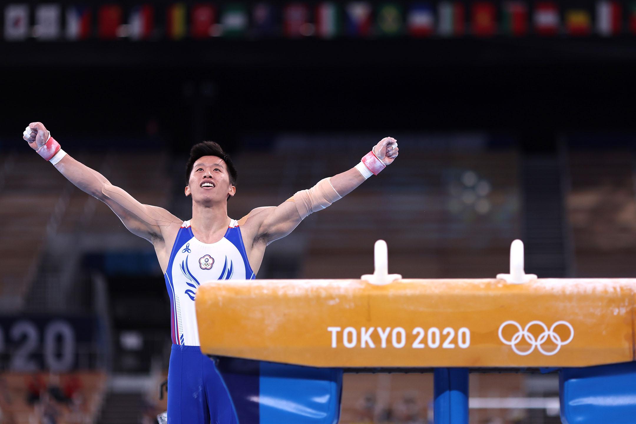 2021年8月1日日本東京,中華台北隊參與鞍馬決賽的李智凱。