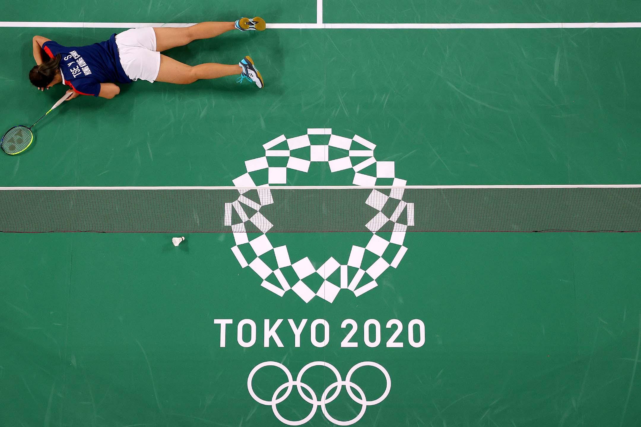 2021年7月30日東京奥運會,香港羽毛球隊的謝影雪與日本隊比賽期間。