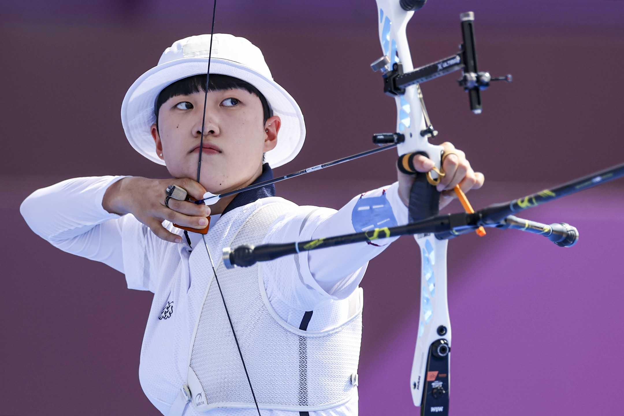 2021年7月24日日本東京,南韓女子射箭運動員安山。 攝:Justin Setterfield/Getty Images