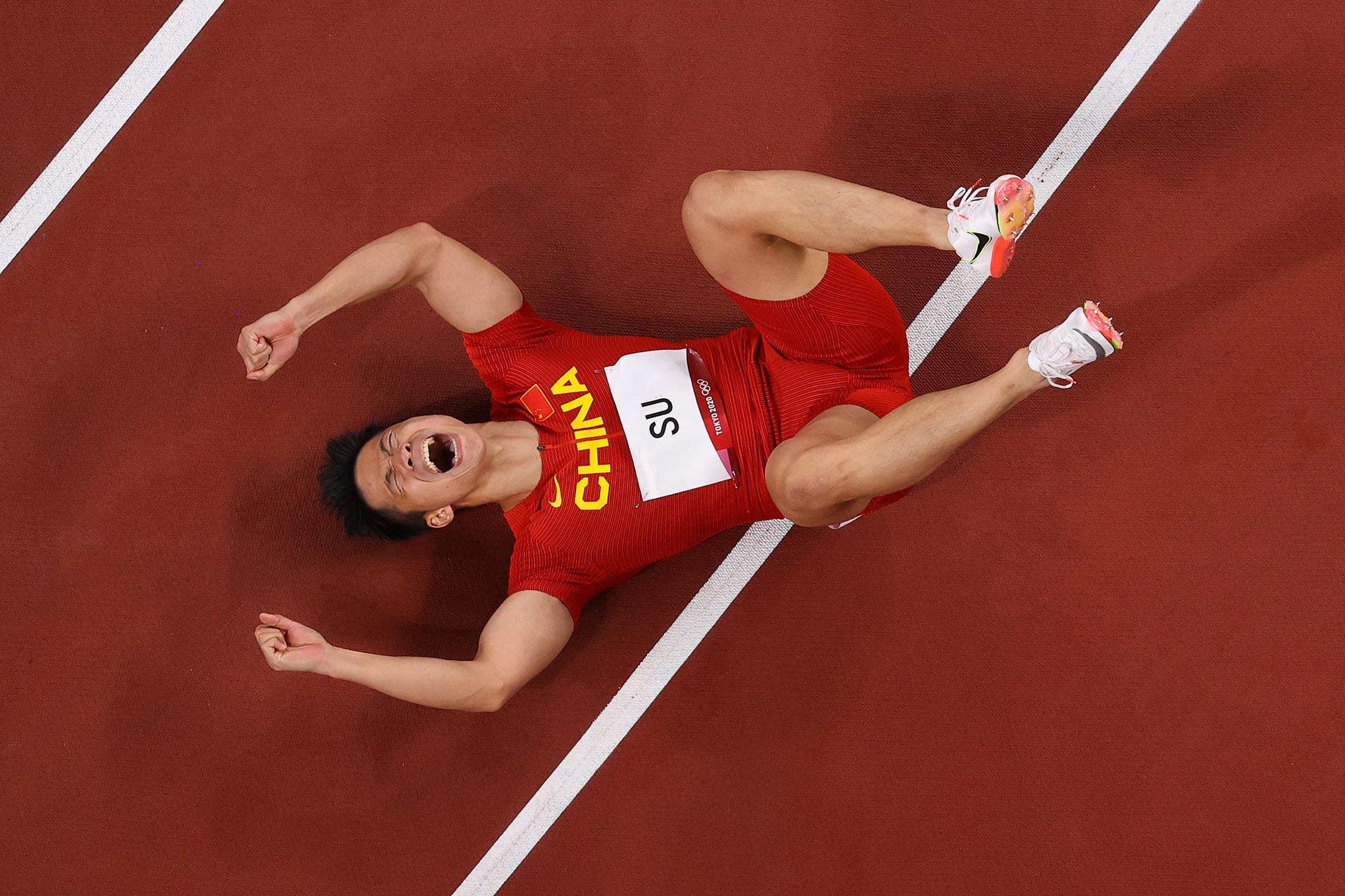 2021年8月1日,中國隊蘇炳添晉級男子100米決賽。 攝:Richard Heathcote/Getty Images