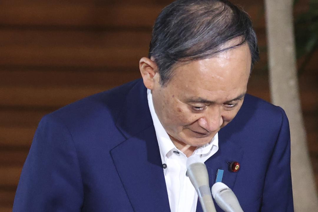 2021年8月23日,日本首相菅義偉會見傳媒,回應橫濱市長選舉結果。 圖片來源:讀賣新聞 via AP Images