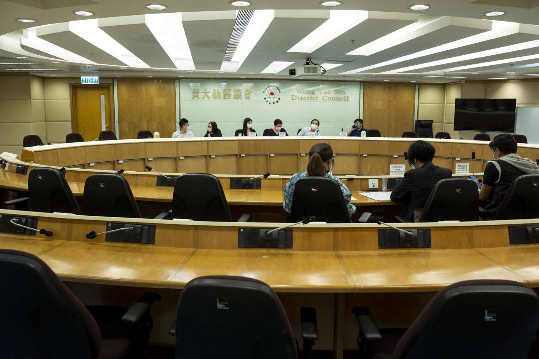 2021年8月10日,黃大仙區議會房屋事務委員會會議,只有三名區議員出席。