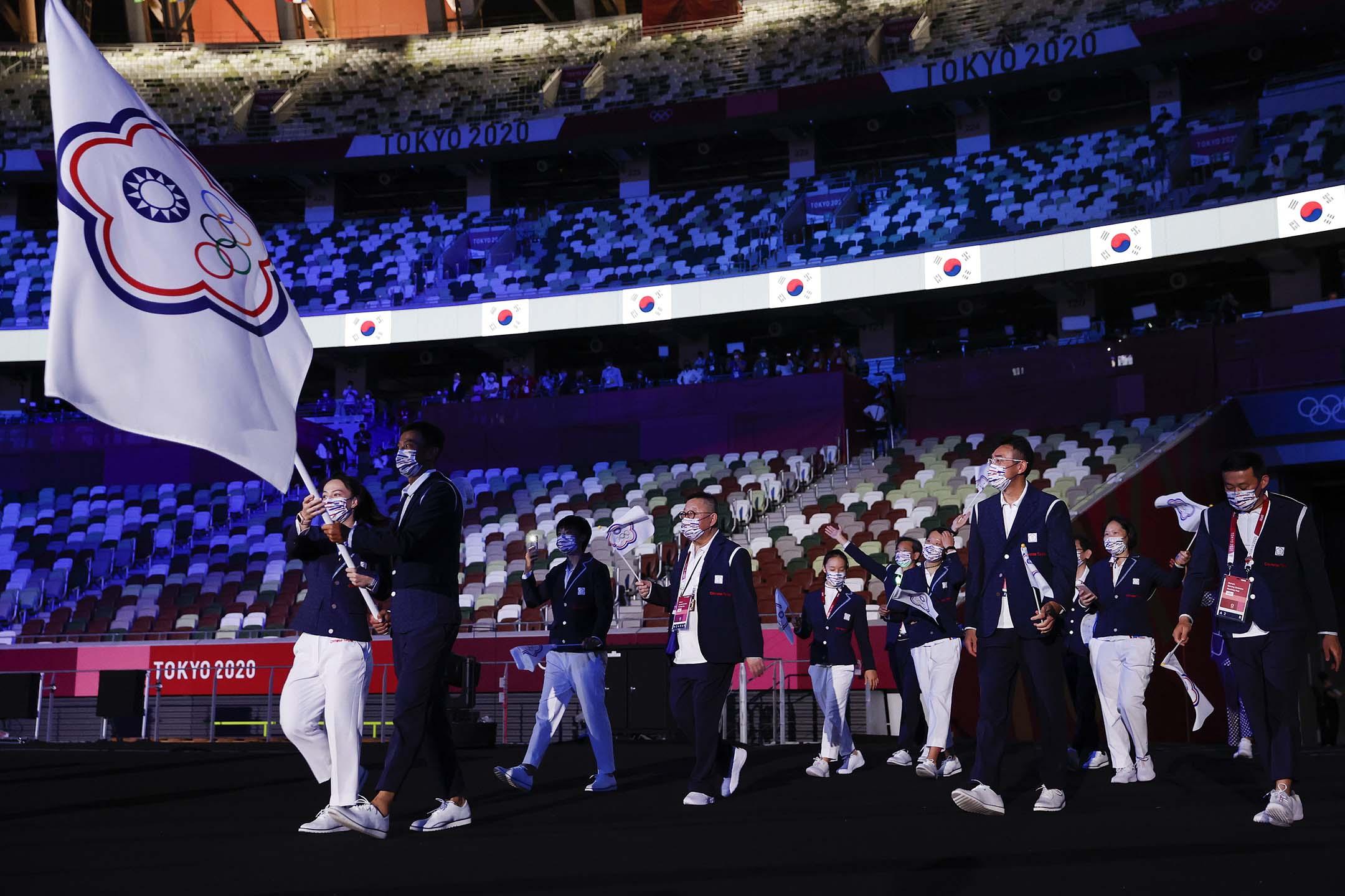 2021年7月23日日本東京,東京奧運會開幕式上,中華台北隊進埸。