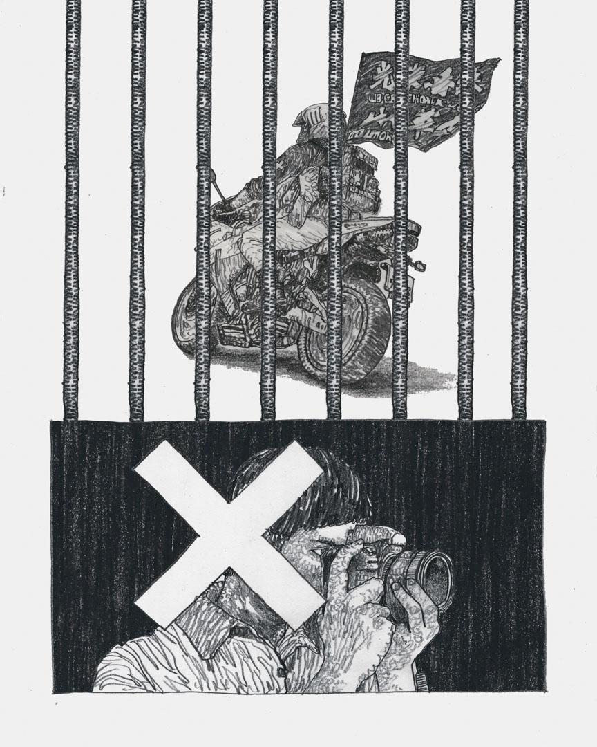 國安法首案判刑,柳廣成的畫把監獄的鐵窗欄杆直接加在騎電單車的唐英傑身上。