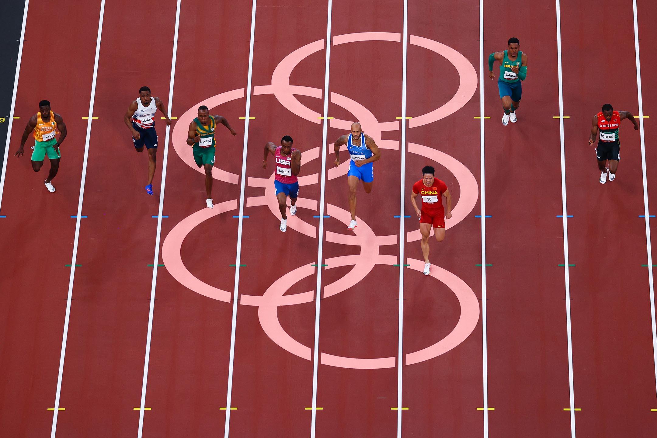 2021年8月1日日本東京奧林匹克體育場,中國隊蘇炳添參與100m準決賽。
