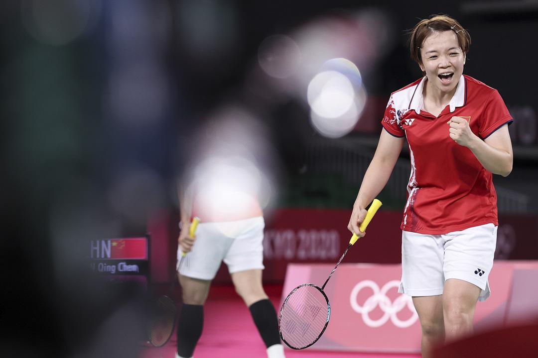 2021年8月2日,東京奧運羽毛球女雙金牌戰中,中國隊的陳清晨。