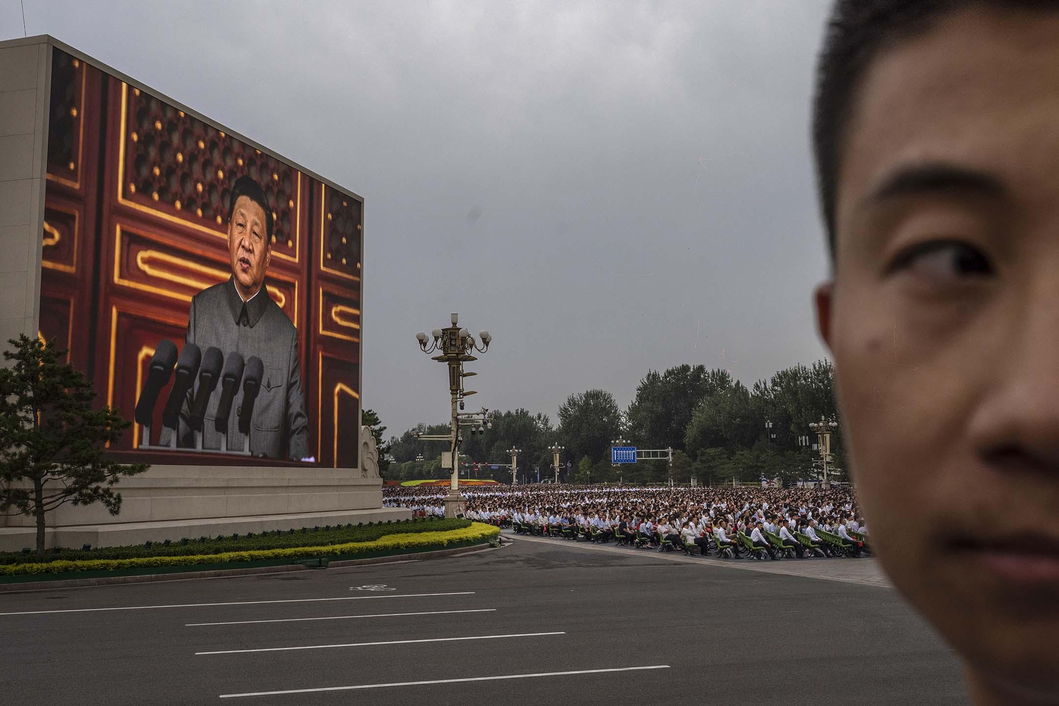 2021年7月1日中國北京,中國國家主席習近平於天安門廣場舉行的慶祝共產黨成立 100 週年的儀式上發表講話。 攝:Kevin Frayer/Getty Images