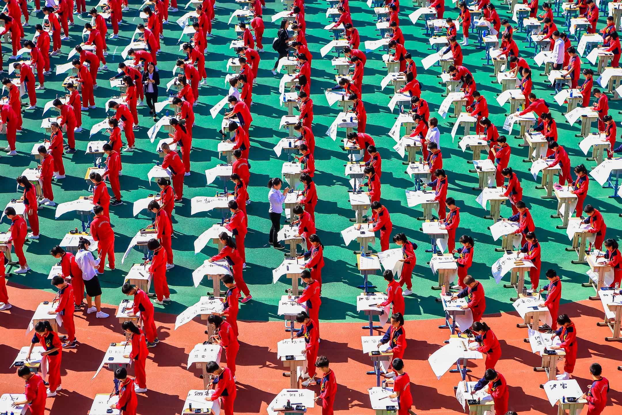 2017年9月14日中國瀋陽市,一群小學生寫中國書法。