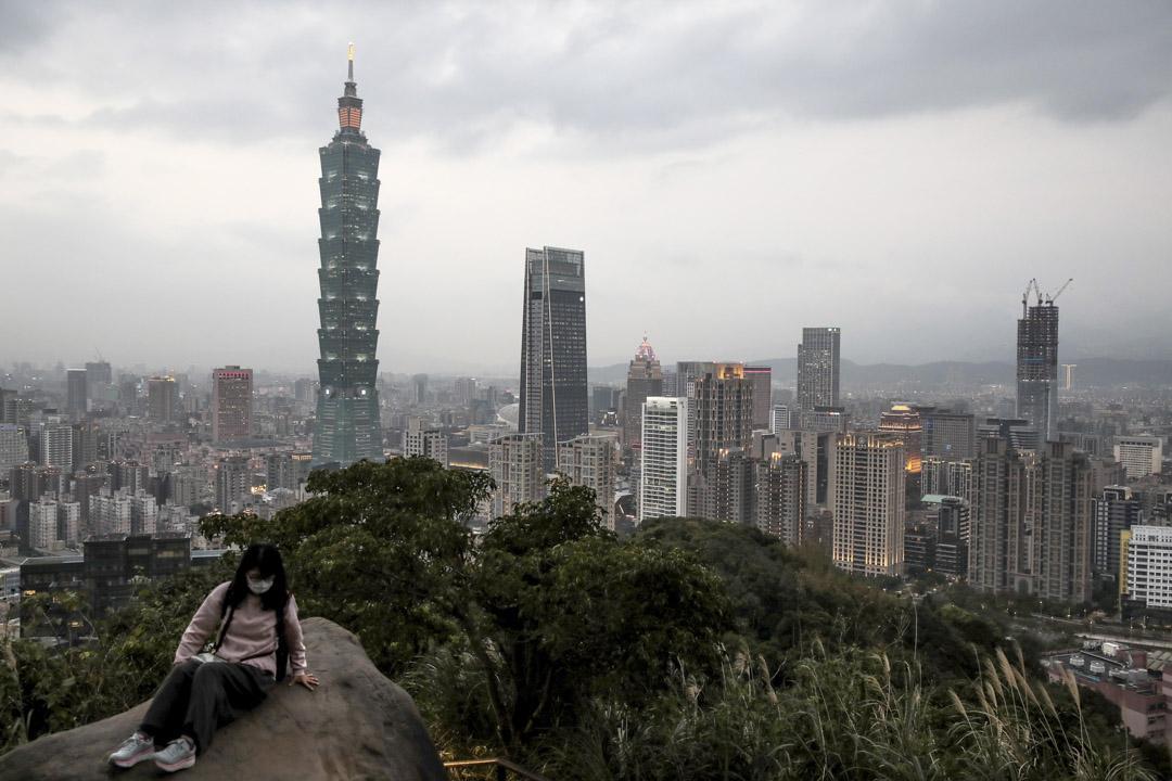 2021年1月26日,台北101大樓和其他建築物。
