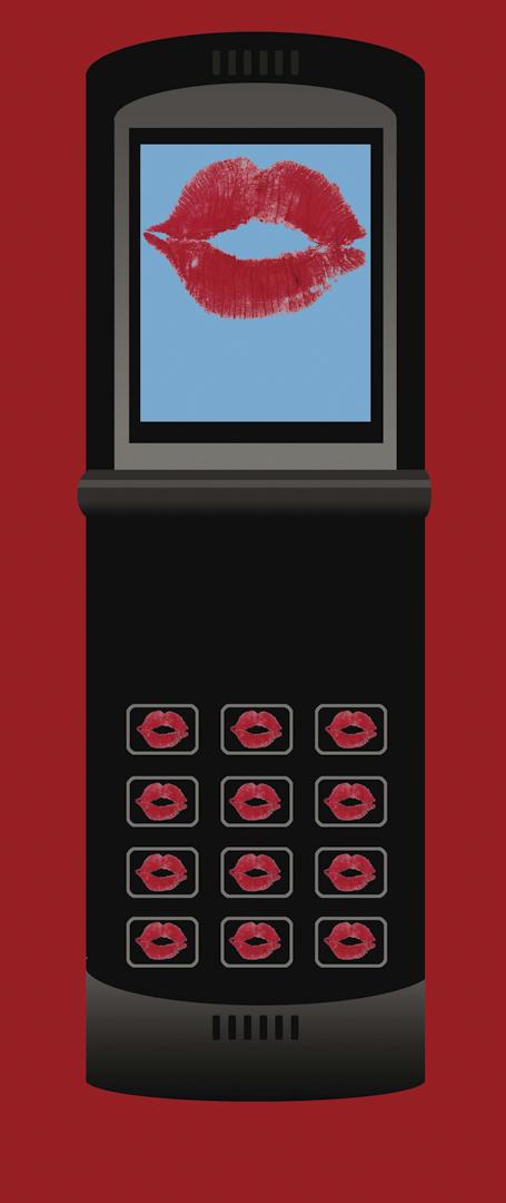 一部屏幕和鍵盤上都有紅色唇印吻的手機。