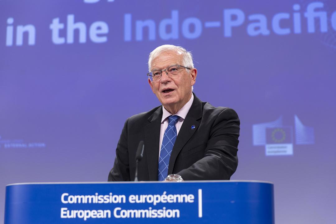 2021年9月16日在比利時布魯塞爾,歐盟外交與安全政策高級代表博雷利(Josep Borrell)公佈《印度洋—太平洋地區合作戰略》。 攝:Thierry Monasse / Getty Images