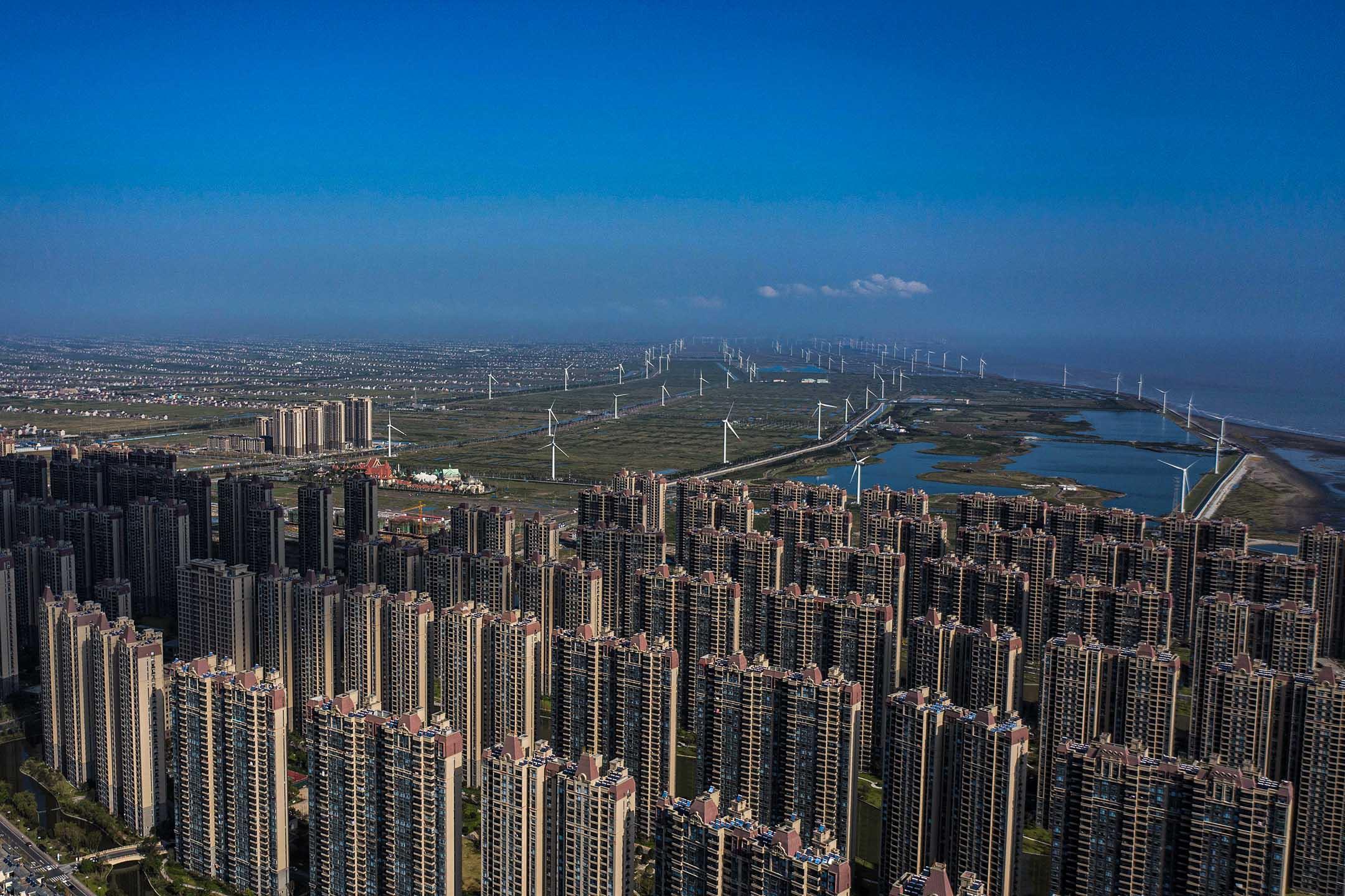 2021年9月21日中國江蘇啟東市,中國恆大集團旗下威尼斯房地產和旅遊開發項目。