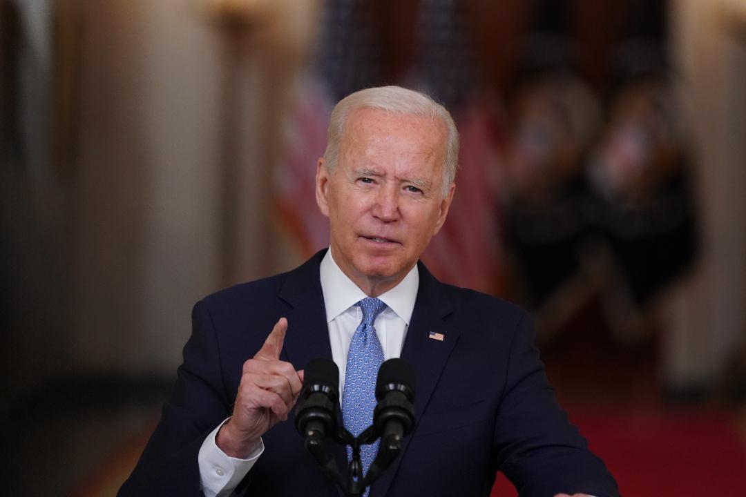 2021年8月31日,美國總統拜登在白宮講話,宣告阿富汗戰爭結束。 攝:Stefani Reynolds/Getty Images
