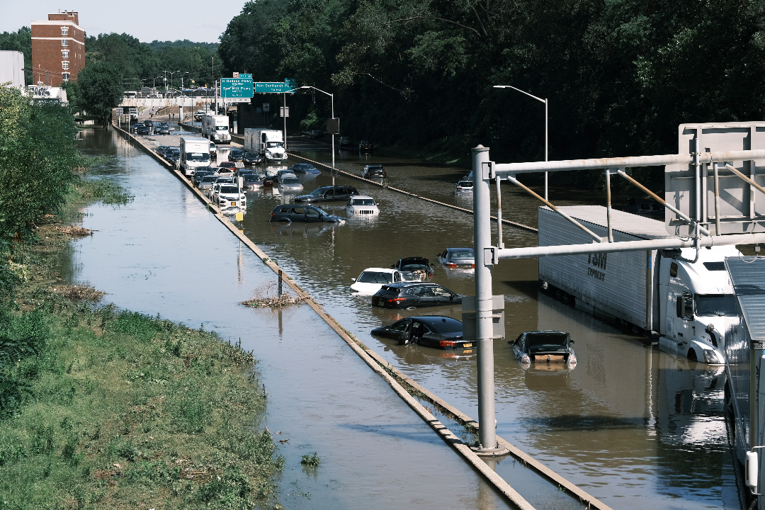 2021年9月2日,美國紐約市,颶風艾達(Ida)造成強降雨,導致洪水。 攝:Spencer Platt/Getty Images