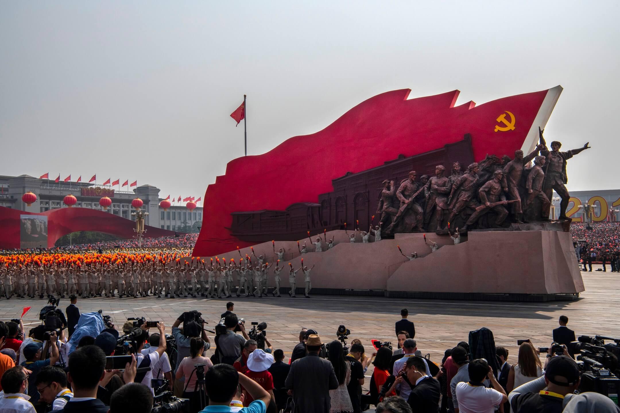 2019年10月1日,中華人民共和國成立70週年,首都北京的天安門廣場舉行閱兵。 攝:Kevin Frayer/Getty Images
