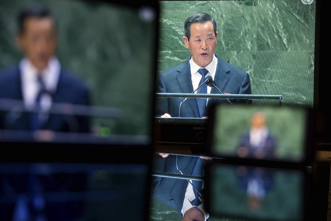 2021年9月27日,北韓常駐聯合國代表金星在聯合國大會上發表演講,強調無人能夠阻止北韓行使正當的自衛權,包括研發和測試武器。 攝:Michael Nagle / Bloomberg via Getty Images