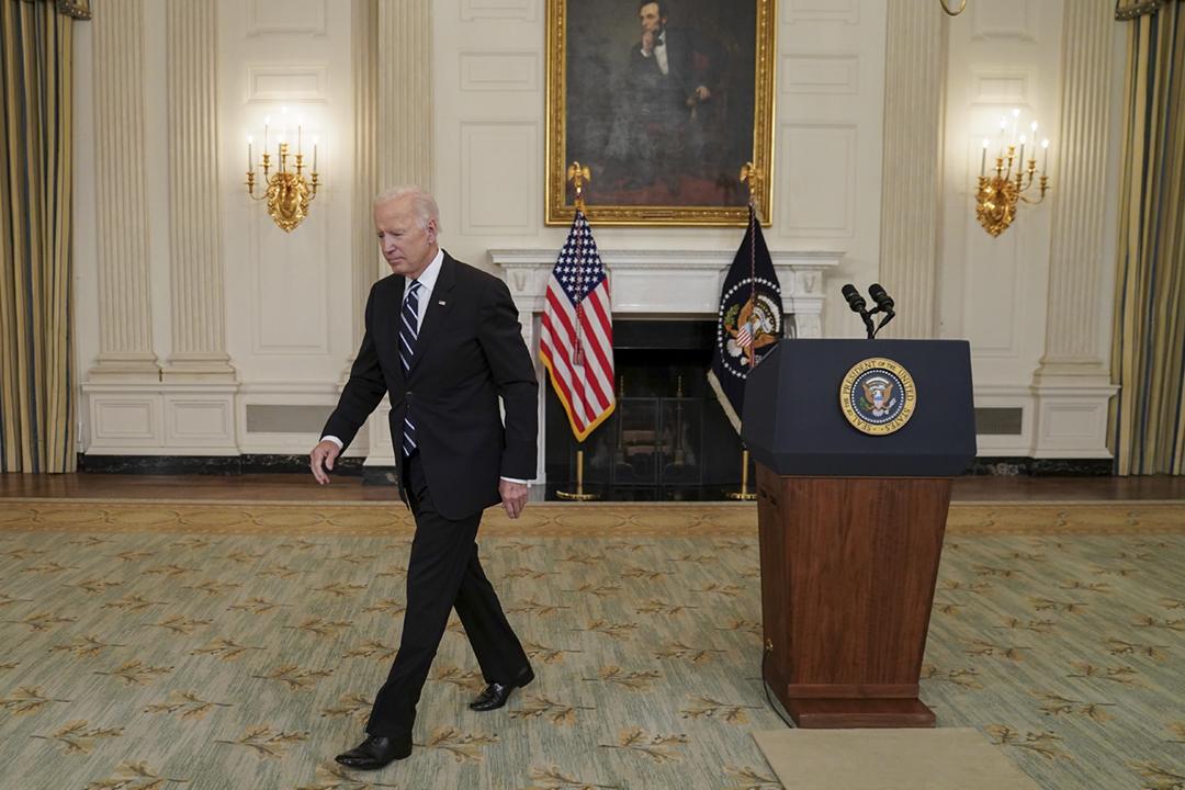 2021年9月9日,美國總統拜登與中國國家主席習近平通電話。圖為拜登當日在白宮會見傳媒。 攝:Kevin Lamarque / Reuters