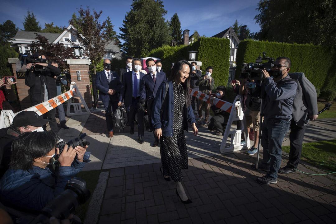 2021年9月24日,華為首席財務官孟晚舟離開她在溫哥華的家。
