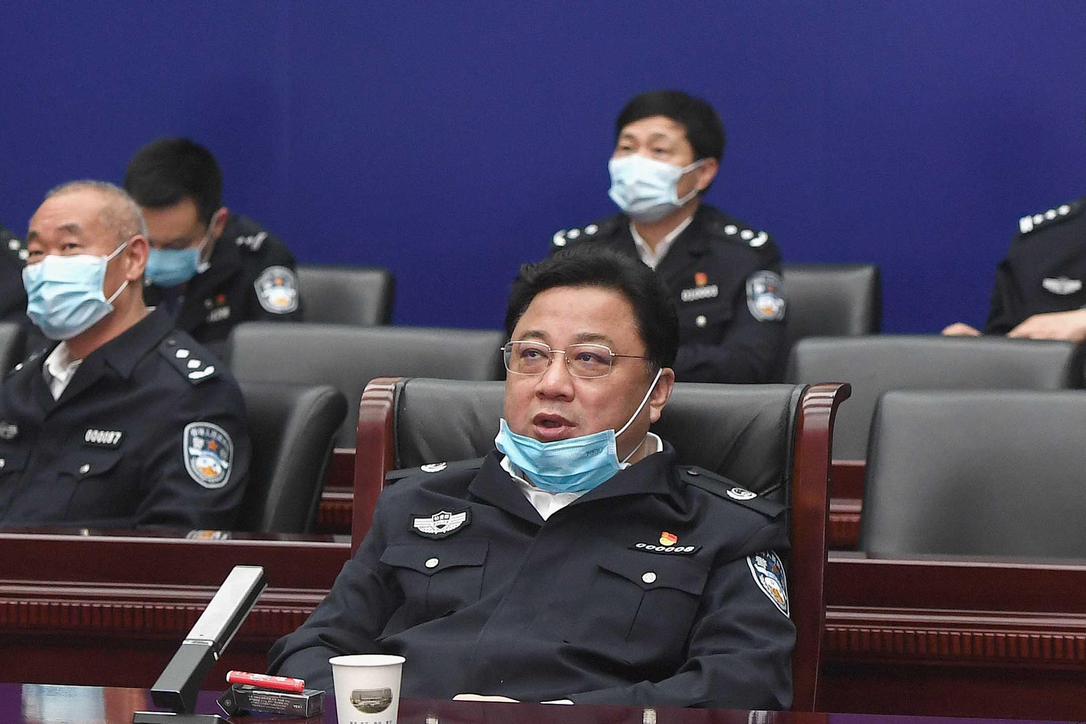 2020年4月7日中國武漢,公安部副部長孫立軍於武漢市舉行的一次會議上。