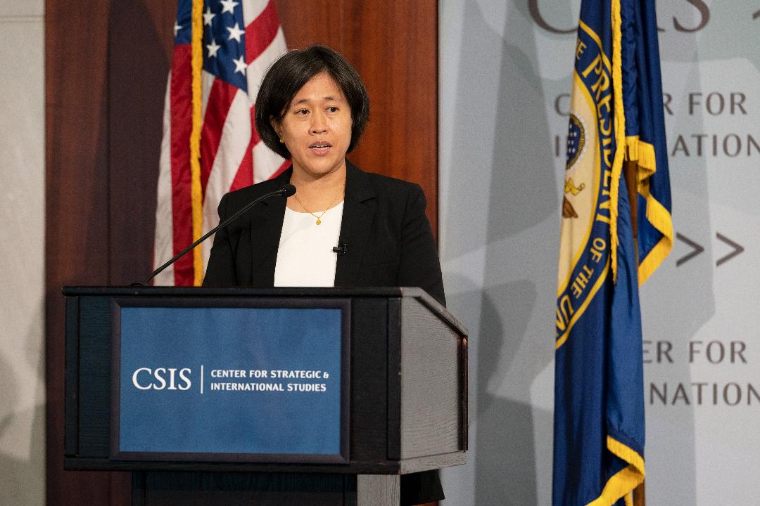 2021年10月4日,美國貿易代表戴琪(Katherine Tai)在華盛頓智庫戰略與國際研究中心(CSIS)演講。 攝:Craig Hudson/Getty Images