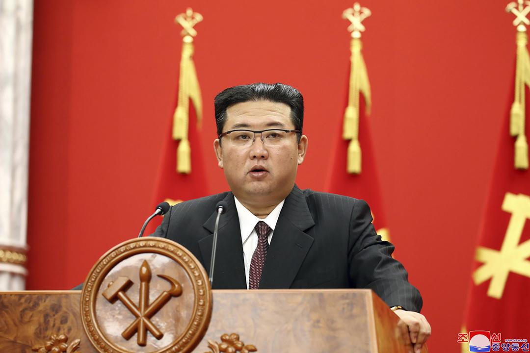 2021年10月10日,北韓勞動黨總書記金正恩首次在勞動黨建黨紀念日發表講話。 圖片來源:KCNA via AP