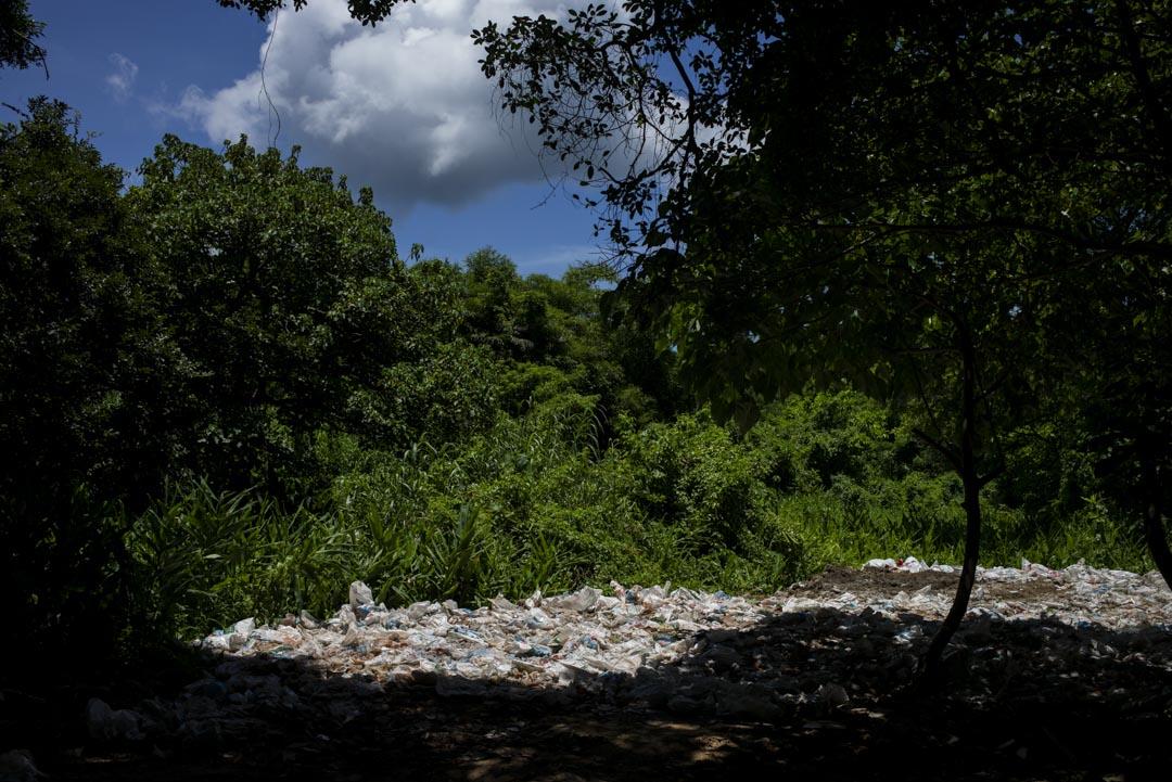 南丫島的一塊小地上的垃圾。