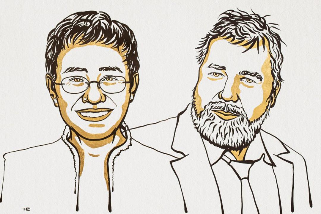 2021年10月8日,諾貝爾和平獎得主揭曉,菲律賓記者雷薩(Maria Ressa)及俄羅斯《新報》總編輯穆拉托夫(Dmitry Muratov)因「努力捍衛言論自由」而獲得殊榮。 圖片來源:諾貝爾和平獎官方網頁