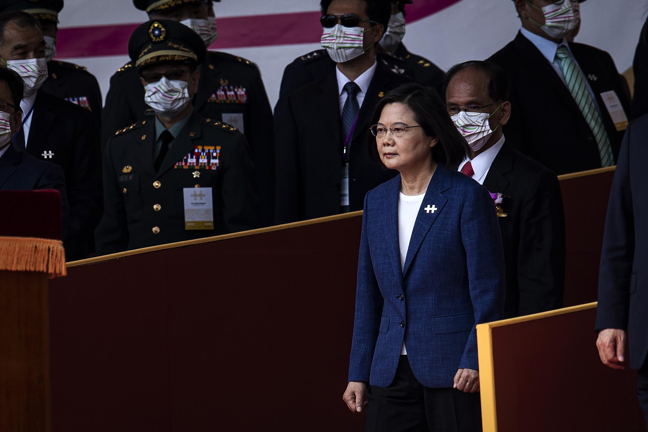 2021年10月10日台北,蔡英文總統於雙十國慶發表講話。 攝:陳焯煇/端傳媒