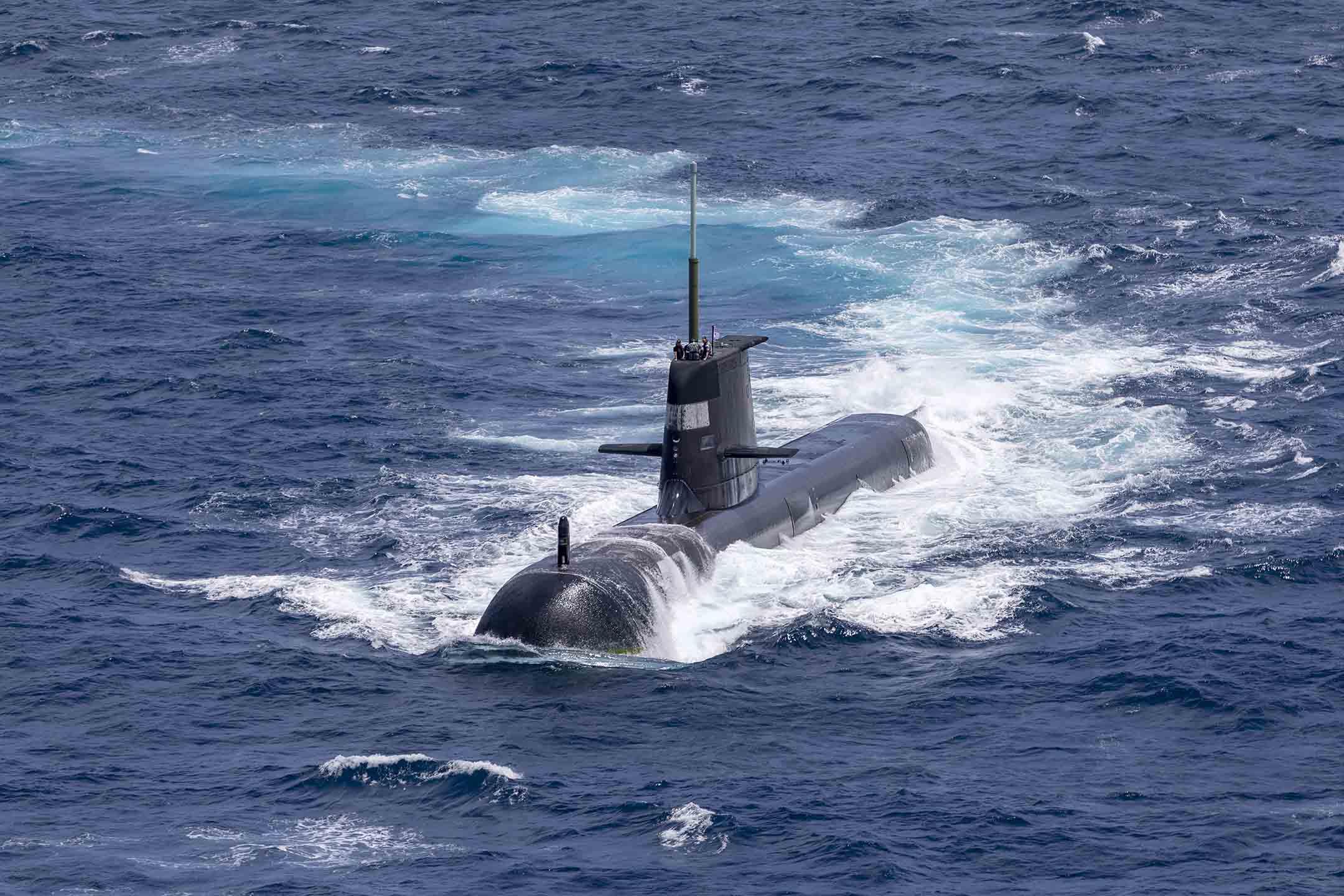 2021年9月5日澳大利亞達爾文,澳大利亞皇家海軍潛艇出現,這是澳大利亞海軍和印度海軍兩年一度的海上演習。 攝:POIS Yuri Ramsey/Australian Defence Force via Getty Images