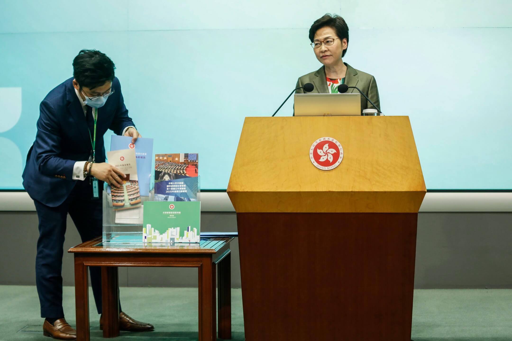 2021年10月6日,香港,特首林鄭月娥發表任內最後一份施政報告後,召開記者會回答記者提問。 攝:林振東/端傳媒